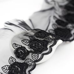 Black Lace Trim Floral Embroidery Lace