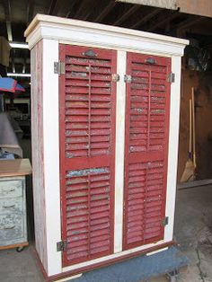 These shutters were salvaged in New England, trucked out here by a friend of mine. Beautiful colors and appearance, they have had a hard life with those hardcore New England winters! Repurposed as doors in this cabinet, lots of color here! Bryan Appleton Designs http://bryanappletondesigns.com/
