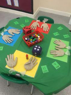 First Grade math activity (counting hands).latex gloves filled with sand. Maths Eyfs, Numeracy Activities, Kindergarten Classroom, Classroom Activities, Teaching Math, Number Sense Kindergarten, Addition Activities, Nursery Activities, Elementary Math