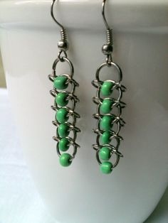 bead and chainmaille earrings