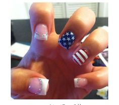of July Nails Best Red, White and Blue Nails! is part of nails - It's time to show off those Red, White and Blue Nails because we have compiled some of the Best of July Nails for instant inspiration! of July Nail Art is some of our favorite nail po… July 4th Nails Designs, Red Nail Designs, 4th Of July Nails, Heart Nail Designs, Nail Designs Spring, White Tip Nails, Blue Nails, Pastel Nails, Aycrlic Nails