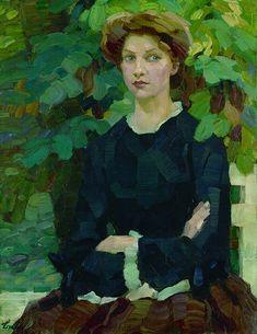 """detail of """"Im Herbstlichen Garten"""", 1908 by German Impressionist painter Leo Putz"""
