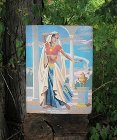 Vintage Paint by Number Belly Dancer Exotic Atomic Craftint Mid Century 1956 PBN Unframed Painting 1950s AtomicPutz.com