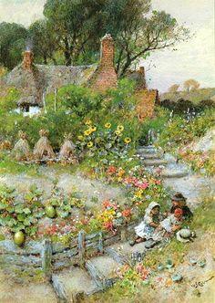 """""""Cottage Garden In Summer"""" by William Stephen Coleman (1829-1904), English Book Illustrator & Painter ...."""
