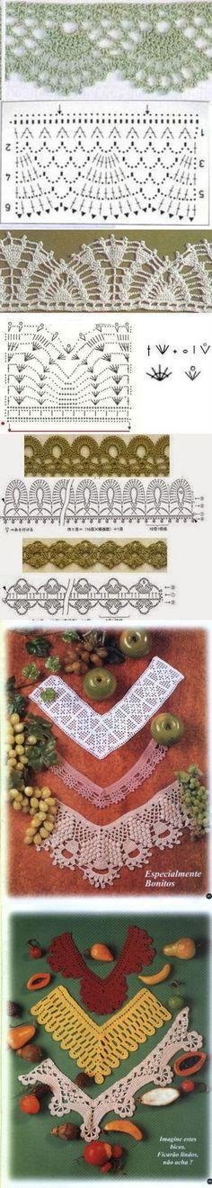 I don't speak Russian, but. Crochet Edging Patterns, Crochet Lace Edging, Crochet Motifs, Crochet Borders, Crochet Diagram, Crochet Chart, Thread Crochet, Filet Crochet, Irish Crochet
