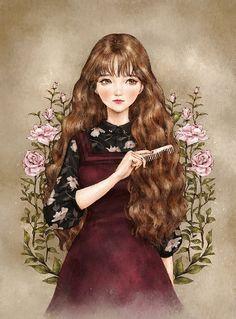 """애뽈 (Aeppol), """"머리 빗는 소녀"""" (""""Girl Combing Her Hair"""")"""