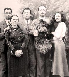 Louis Aragon, Elsa Triolet, André Breton, Paul Eluard, Nusch in 1930.