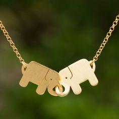 Gold Plated Pendant Necklace - Elephant Friendship | gold elephant #necklace by NOVICA