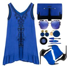 """""""Emotions in blue"""" by simona-altobelli ❤ liked on Polyvore featuring Balenciaga, Lipsy, Yves Saint Laurent, Marc by Marc Jacobs, Stila, Urban Decay and Maybelline"""