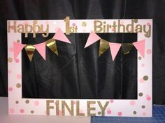 pink gold birthday party photo booth frame by funpartyframes Pink And Gold Birthday Party, Ballerina Birthday Parties, Ballerina Party, 1st Birthday Girls, Birthday Diy, 1st Birthday Parties, Birthday Party Decorations, Birthday Ideas, Theme Parties