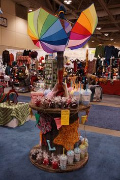 Umbrella display created by Daniel Zondervan, The Crochet Crowd® Designer. With the help of this display and some wonderful volunteers, $900 in cash was raised for charity. Impressive!