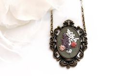 Embroidered Necklace. Floral Jewelry. Statement Necklace. Cameo Necklace. Flower Embroidery Pendant. Long Pendant Necklace. Gifts for Her.
