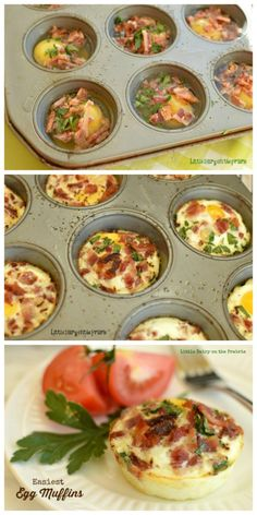 Easiest Baked Muffin Cup Eggs - Little Dairy On the Prairie The easiest way to make eggs in the morning. Put everything in a muffin tin, put in the oven, get ready for the day and in 15 minutes breakfast. Yummy!