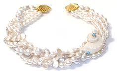 Helga Wagner Oval Fresh Water Pearls, Coin Fresh Water Pearls, Turquoise roundels with White Turbo Shell and Turquoise cabochon set in 14k Gold and Helga Wagner clasp.  N604-58