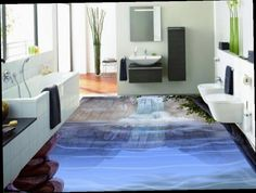 53.89$  Buy now - http://aliivc.worldwells.pw/go.php?t=32706556010 - custom 3d flooring waterproof wall paper waterfall 3d flooring wallpaper bathroom living room wallpaper