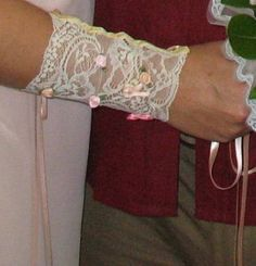 Easy DIY Wedding renaissance cuff. At the back it's cross - tied (corset style) with a peach satin ribbon