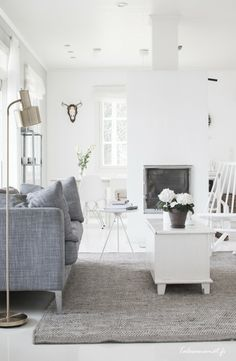 scandinavian - grey and white living room