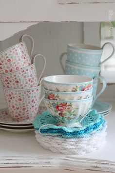 aqua,blue and white coasters | GreenGate,  #Greengate