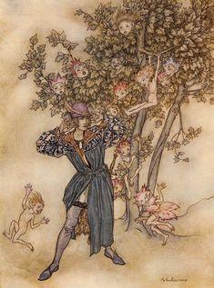 "Arthur Rackham's Stunning 1926 Illustrations for ""The Tempest"" – Brain Pickings Arthur Rackham, Alice In Wonderland Illustrations, Haida Art, Fairytale Art, Aboriginal Art, Linocut Prints, Watercolor Illustration, Printmaking, Illustrators"
