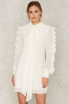 Nasty Gal Say No More Ruffle Sleeve Dress - Clothes | Cocktail Dresses | White Dresses
