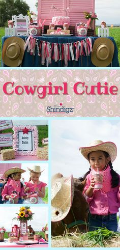 Real ponies, cowgirls, & pretty pink decor. Gallop on over to the blog to see this cowgirl cutie party styled by Glammed and Enchanted Events.