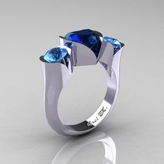 Nature Classic 10K White Gold 2.0 Ct Heart Blue by artmasters