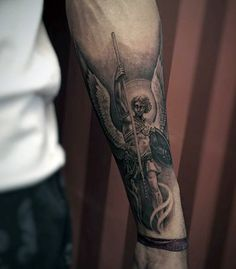 Mens Forearms Grey Guardian Angel Tattoo