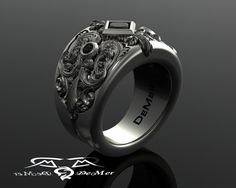 Heavy engraved sculpted unique mens wide black by DeMerJewelry
