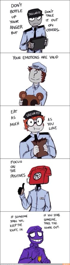 Words of advice from the trusty security guards of five nights at