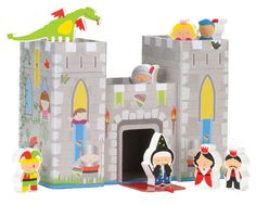 Fight off the dragon to save the royal family or perhaps he is protecting them from the evil wizard. Let your imagination run wild with the characters included in the Castle Play House. Chunky and wooden there are 9 pieces to play with and the sturdy castle that has been cleverly painted has a lift off lid for easy storage.  Made by Fiesta Crafts, a UK company who specialise in manufacturing of high quality award winning fabric educational toys.    Age Range: 1 year+   Dimensions: 25.5cm …