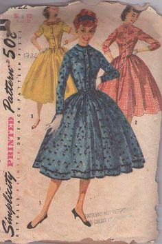 MOMSPatterns Vintage Sewing Patterns - Simplicity 1722 Vintage 50's Sewing Pattern STELLAR Petite Standaway Collar or Collarless FULL Flared Skirt Rockabilly Shirtwaist Party Dress VLV Size 12