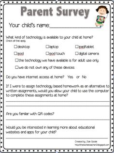 The Techie Teacher: Parent Technology Survey Freebie Great Idea For Those  Teachers Looking To Incorporate Technology Into Their Teaching. Awesome Design