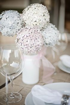 DIY Hydrangea Centerpiece Made From Paint Chips