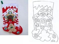 Les Petites: ideas and more ideas Felt Christmas Stockings, Christmas Stocking Pattern, Felt Christmas Decorations, Felt Christmas Ornaments, Christmas Sewing, Christmas Art, Christmas Projects, Handmade Christmas, Christmas Sock
