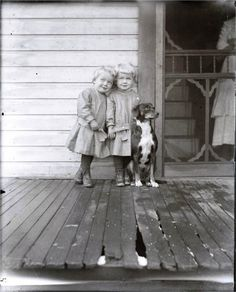 Little Twins on Wooden Porch w Dog Vintage Photo Print by maclancy