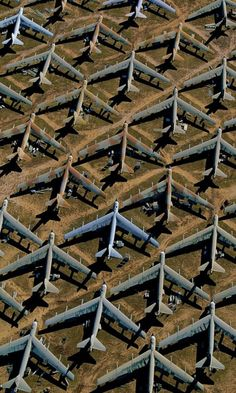 Mothballed B-52 bombers at Davis-Monthan Air Force Base near Tucson, Arizona