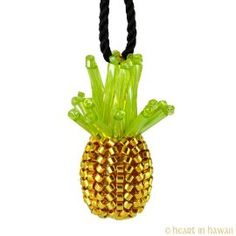Cute Little Pineapple - tiny handmade gold plated beaded pineapple pendant
