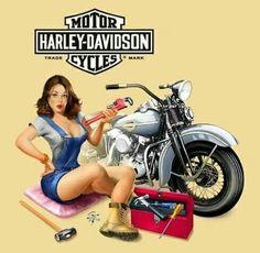 """In a fix!""  Retro Harley-Davidson poster"