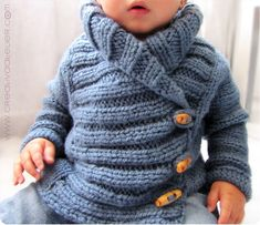 Chaqueta de punto. 3 months to 2 years. Interesting pattern via fotos, video and links to tutorials