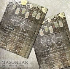 """This rustic wood and mason jar 5"""" x 7"""" (A7) wedding shower invitation design by OddLotWeddings   Emporium™ features a wood plank background with a branch holding various mason jars on the top. Jars read """"Love"""" inside them in various colors of pink and white and green. All text is customizable with your text. $18.00 Digital or Professional Printing available #wedding #masonjar #bridalshower #rusticinvitations"""