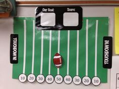 Classroom Management- Football field can go up or down depending on behavior/ compliment jar Sports Theme Classroom, 2nd Grade Classroom, Classroom Behavior, Sports Classroom Decorations, Classroom Ideas, Behavior Incentives, Behavior Management, Classroom Management, Behavior Tracker