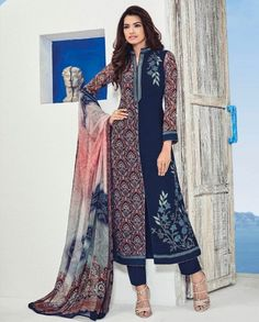 1. Brown straight georgette suit 2. Highlighted with resham thread embroidered patch work and digital print 3. Comes with matching shantoon bottom and printed chiffon dupatta 4. Can be stitched upto size 42