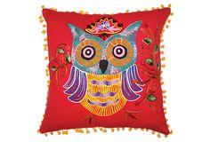 Owl 16x16 Pillow, Red/Multi on OneKingsLane.com