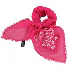 Embroidered Rose Square Silk Scarf Neckerchief Crepe