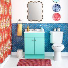 Modern Glam Blush Girls Bathroom Design 50 Bathroom Decorating Ideas Pictures Of Bathroom Decor And Designs with Modern Glam Blush Girls Bathroom Design Pictures For Bathroom Walls, Bathroom Ideas Uk, Small Bathroom Tiles, Bathroom Tile Designs, Bathroom Colors, Colorful Bathroom, Bathroom Yellow, Bathroom Faucets, Bathroom Essentials