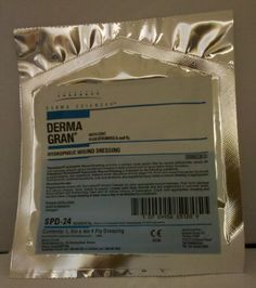 """Derma Gran Hydrophilic Wound Dressing, 8"""" x 4"""" Sterile Dressing (one) by Derma Sciences, Item SPD-24 by Dermagran. $8.95. Dermagran Hydrophilic Wound Dressing features: ? Sterile impregnated gauze. ? Use for management of pressure ulcers (Stages II - IV), tissue trauma, surgical incisions, partial thickness thermal burns, diabetic and venous stasis Dermagran B Hydrophilic dressings provide either a primary cover or filler for chronic and acute wounds. Dressings contain..."""