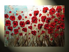 """Original Abstract Textured Painting, Red Poppy Painting, Modern Flower Painting, Poppies Blue Brown Palette Knife, 24x36"""" by Christine"""