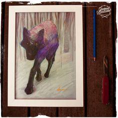 Ilustração Original - Série Lobos - Lobo Preto  -  Formato A4