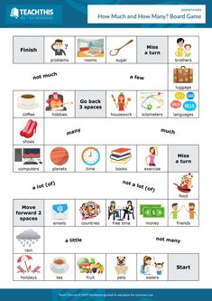 ESL How Much How Many Board Game - Listening and Speaking Activity - Pre-intermediate - 30 minutes In this compelling quantifiers board game, students ask conversation questions with 'How much.' and reply using quantifiers. English Grammar Games, English Activities For Kids, English Vocabulary, English Idioms, Parts Of Speech Activities, Teaching Activities, Listening Activities For Kids, Articulation Activities, Therapy Activities