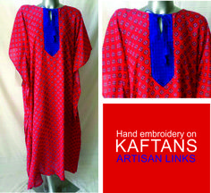 Stunning, vibrant kaftans available to order.